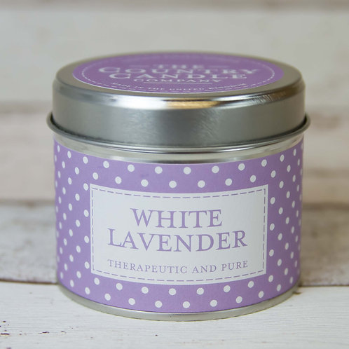 White lavender tin candle - polka dot collection