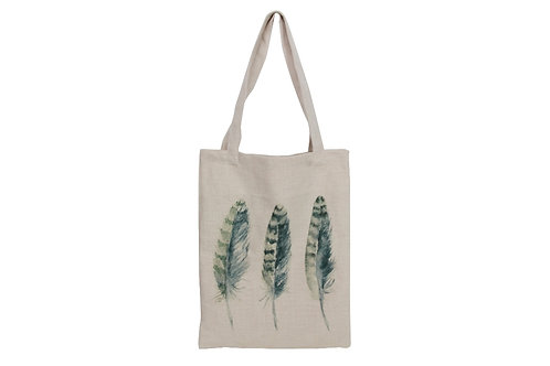 Feather print fabric bag