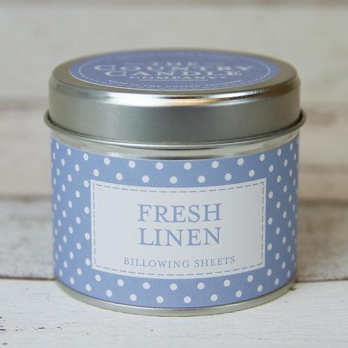 Fresh linen tin candle- Polkadot collection