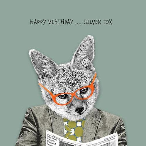 Happy Birthday Silver Fox-Greeting Card