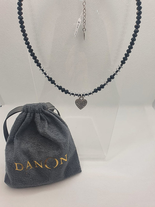 Beaded silver heart necklace