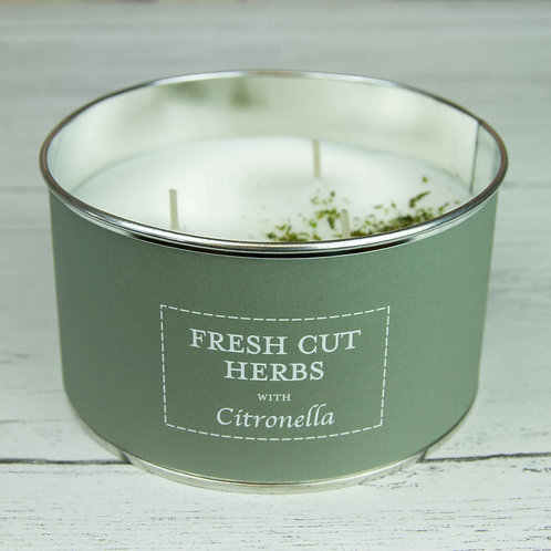 Fresh cut herbs with citronella multi wick candle - pastels collection