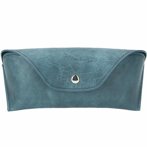 Leather effect glasses case-Petrol blue