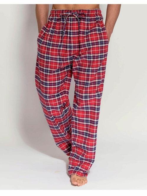Red tartan brushed cotton men's pyjama trousers