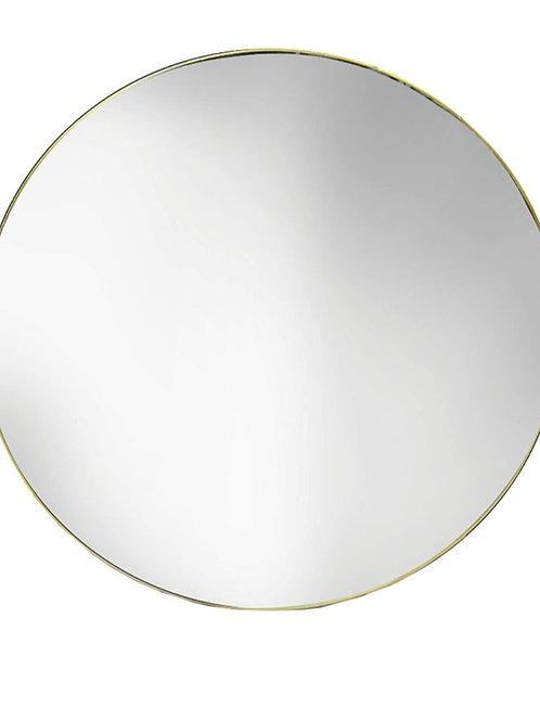 Brass round wall mirror