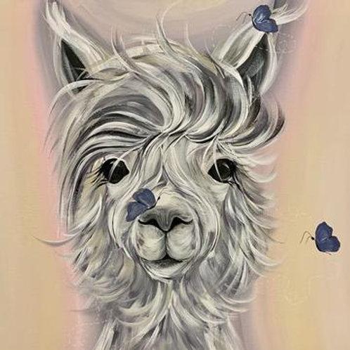 Dolly Llama Greeting Card And Coaster