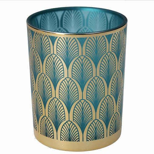 Turquoise and gold deco tealight holder