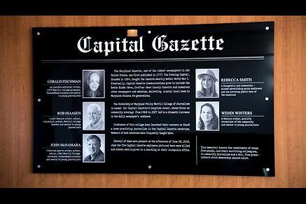 Placque of the Capital Gazette Memorial