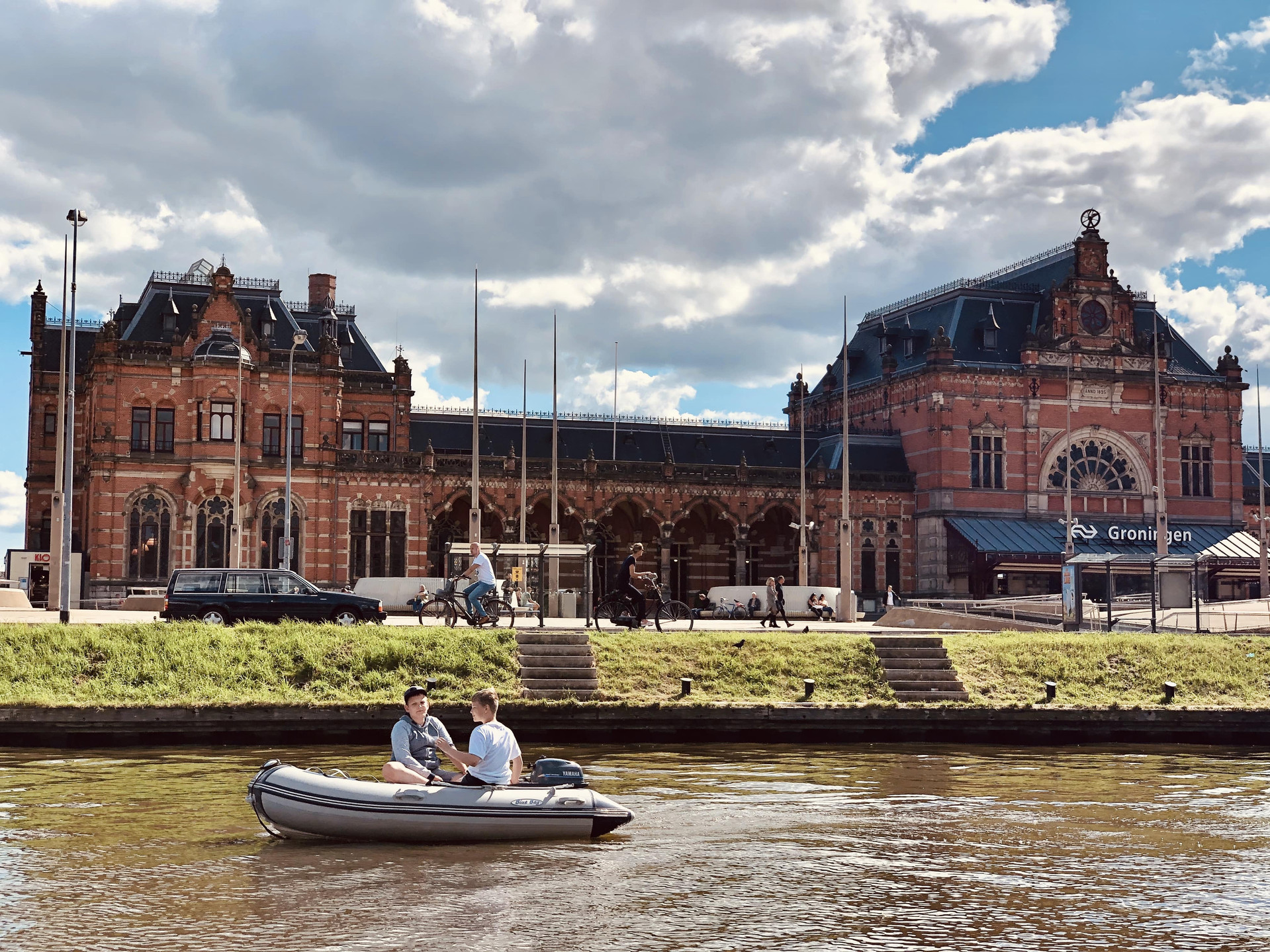 Views of Groningen station by boat-The Netherlands with Diepsloep