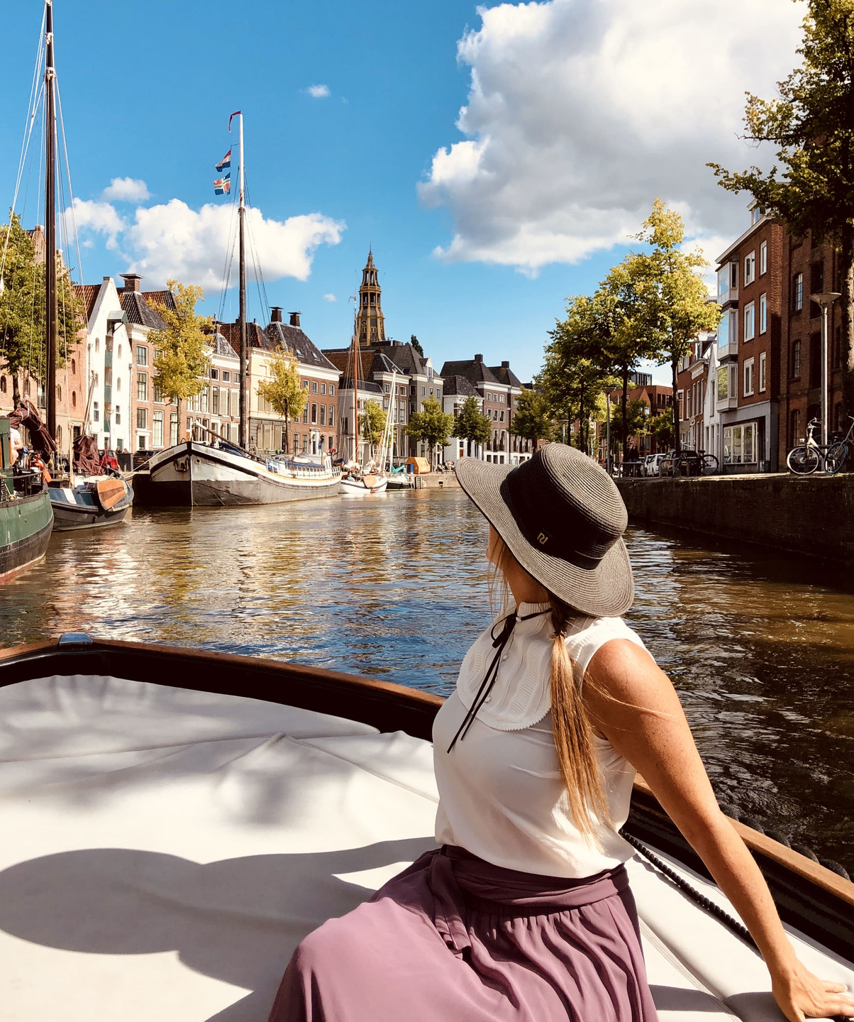 Exploring the canals of Groningen city-The Netherlands with Diepsloep