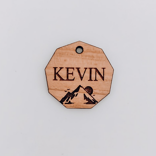 Personalised wooden name tag with design
