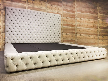 Tufted Wall Panel with Button Tufted Bed Frame