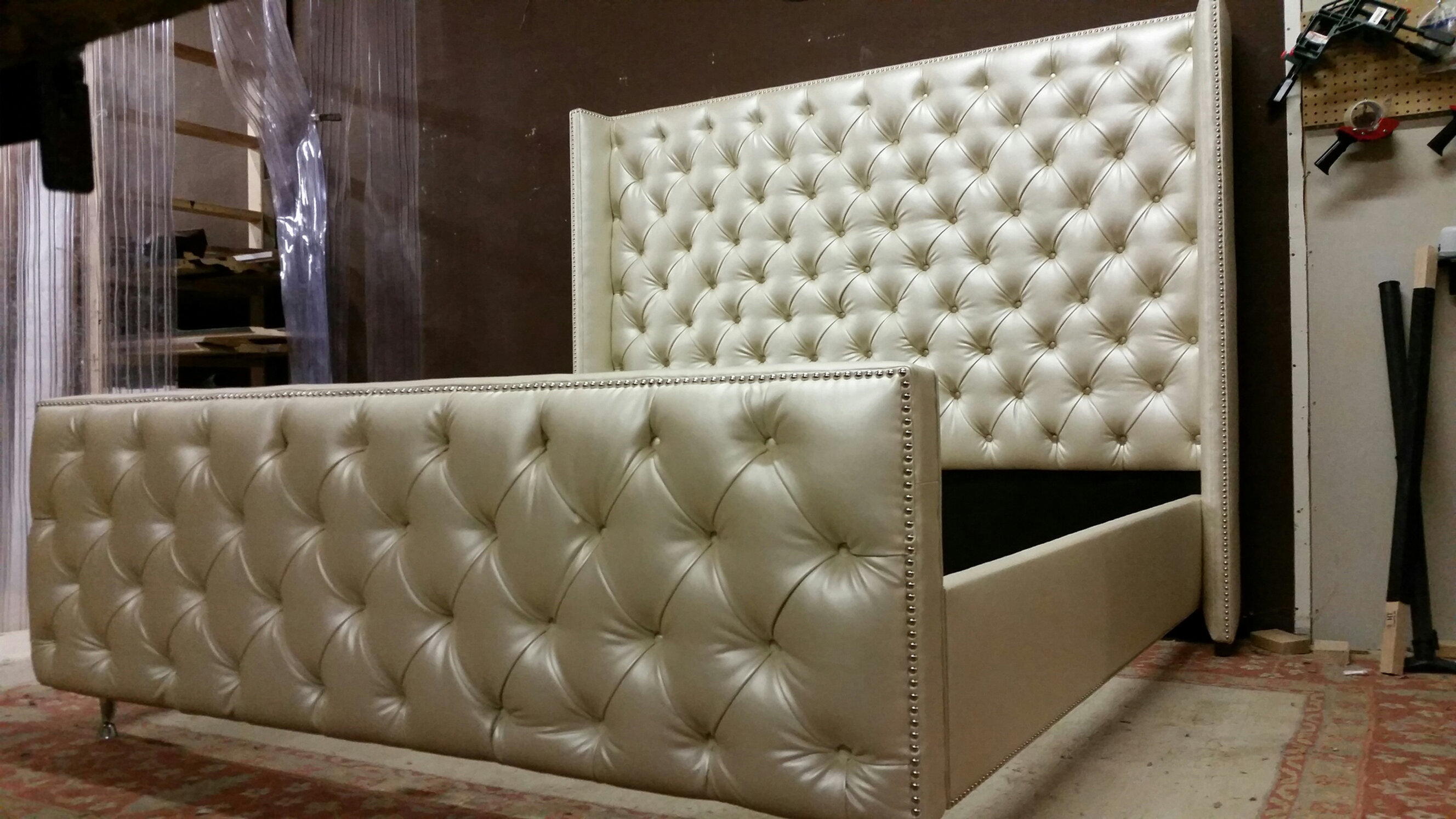 The Wilson 84 Quot Tall Tufted Shelter Wingback Headboard And