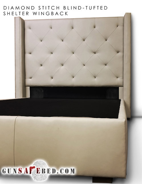 The Diamond Stitch Blind-Tufted Shelter Wingback Gunsafe Headboard