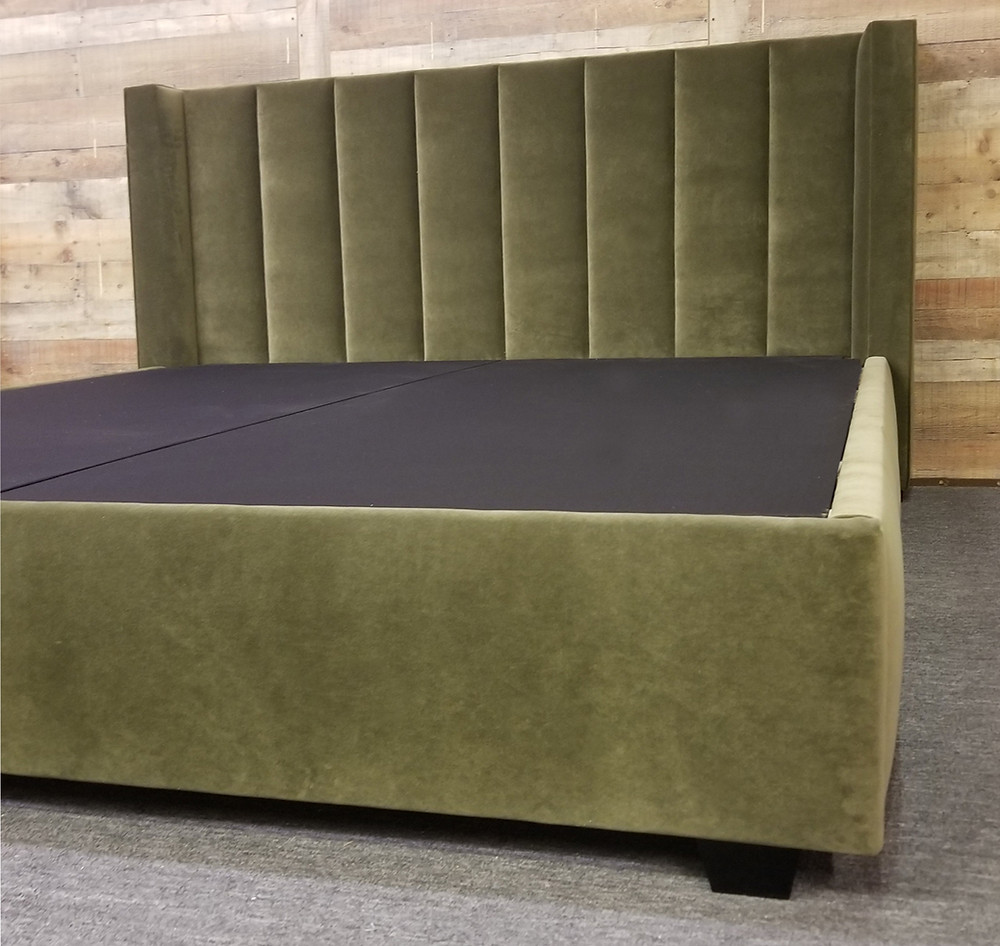 Vertical Channel Shelter Wingback Bed