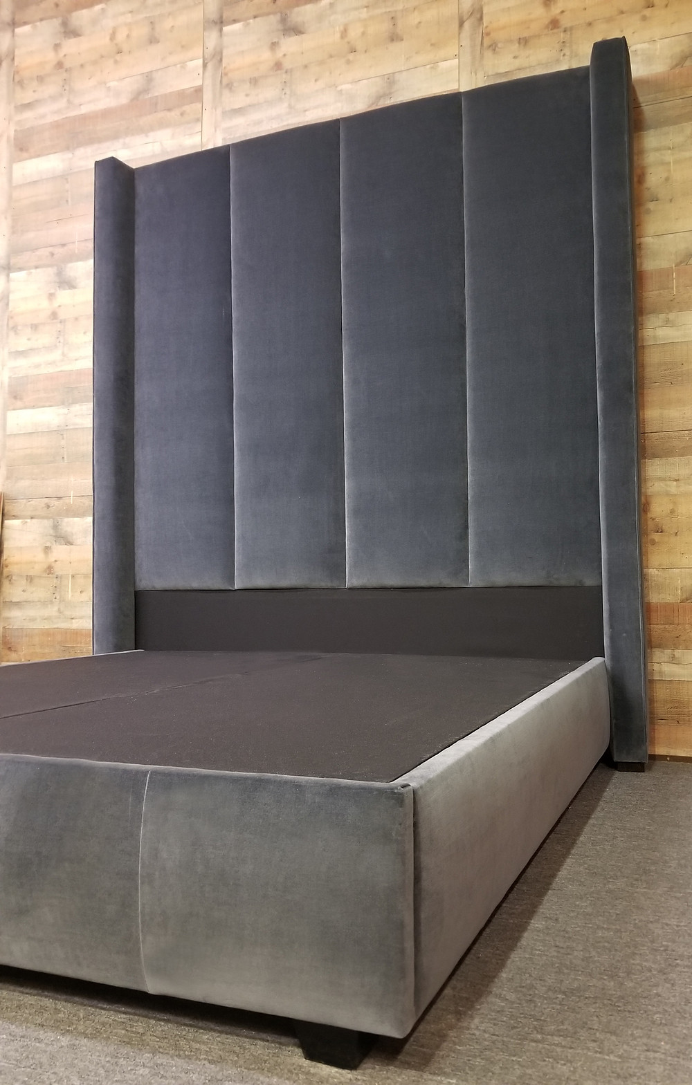 "100"" tall Vertical Channel Shelter Wingback Bed"