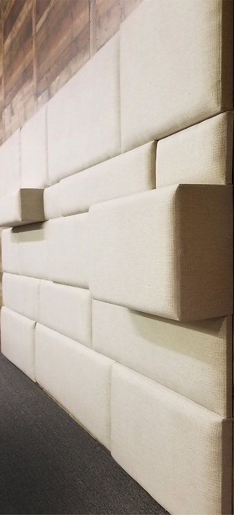 "144""W x 72""H - 3D Random Staggered ROWS Upholstered Wall Panels"