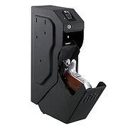 Side view of gun safe open with gun inside