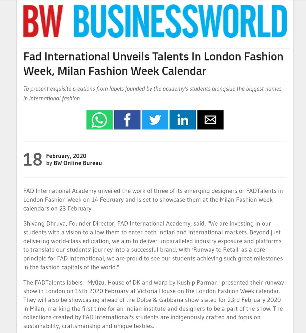 BUSINESS WORLD Fashion design students FAD International