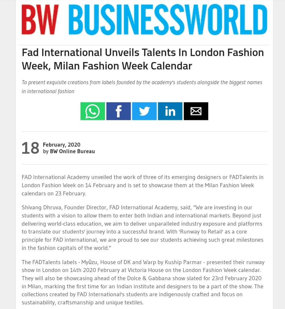 BUSINESS WORLD Fashion design students FAD International