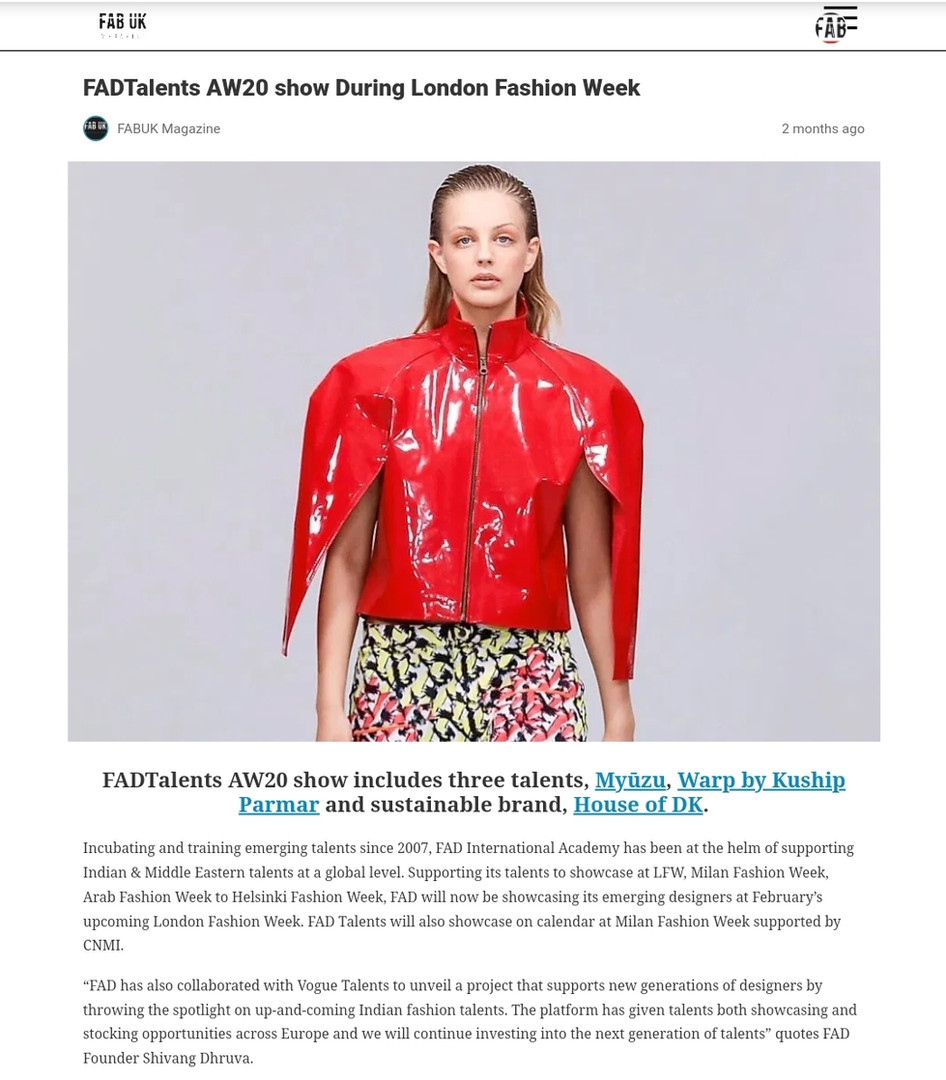 FAB UK Fashion design students FAD International