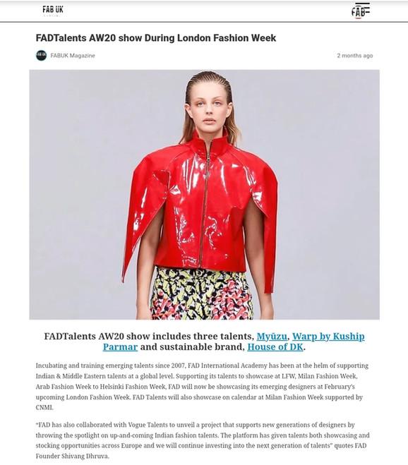 FAB UK Fashion design students FAD International
