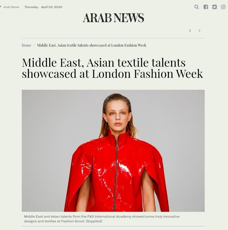 Arab Times Article on FAD Students in Arab Fashion Week