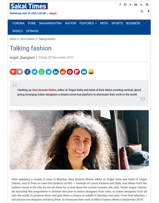 Sakal Times - Sara Maino fashion design students FAD International