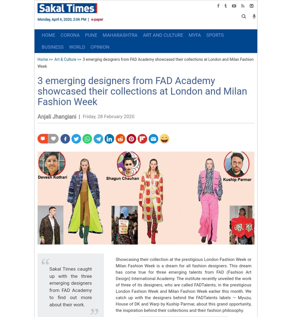 SAKAL TIMES fashion design students FAD International