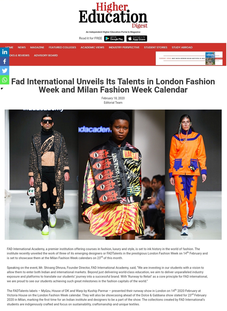 HIGHER EDUCATION DIGEST Fashion design students FAD International