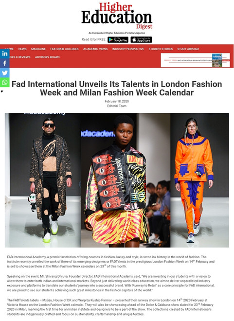 HIGHER EDUCATION DIGEST Fashion design students FAD International