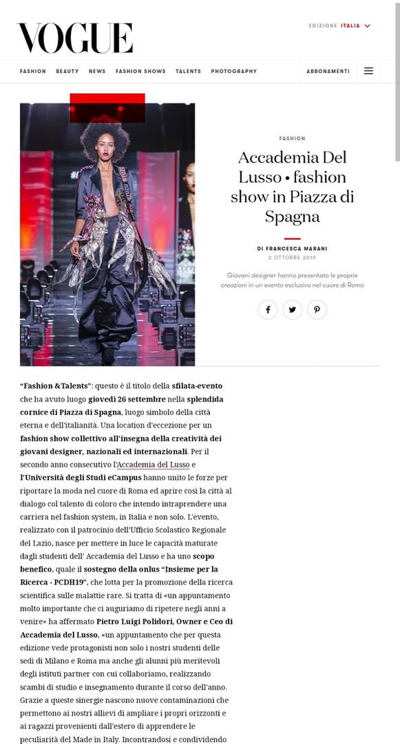 Vogue Italia fashion design students FAD International
