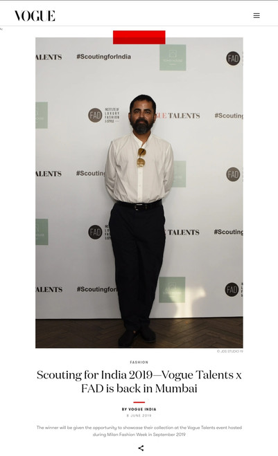 Vogue India Sabya Satchi fashion design students FAD International