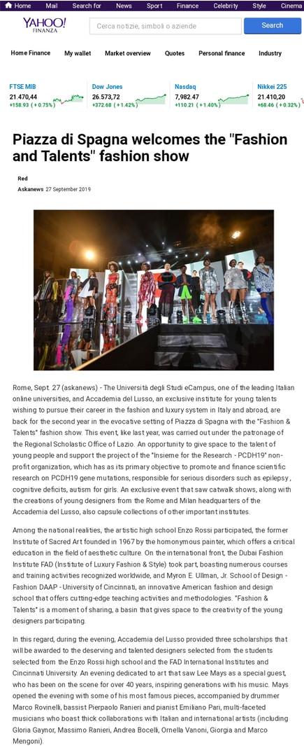 Yahoo Finance fashion design students FAD International