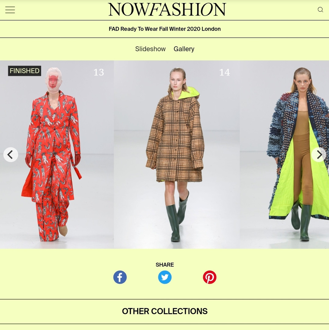 AW20 NOWFASHION fashion design students press coverage