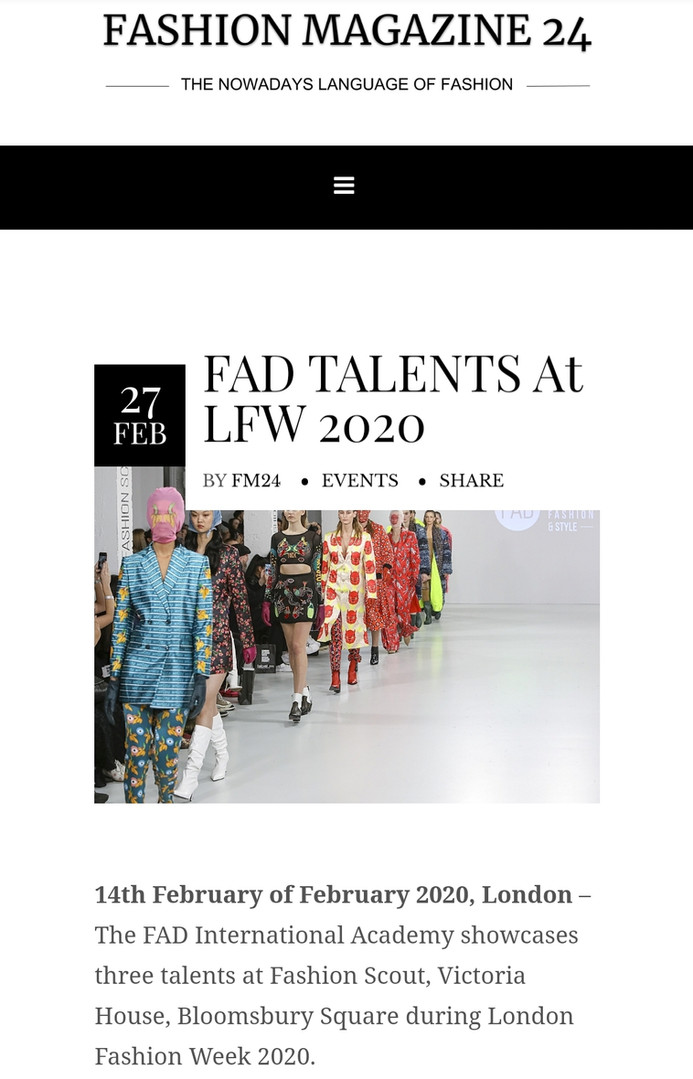 FASHION MAGAZINE 24 Fashion design students FAD International