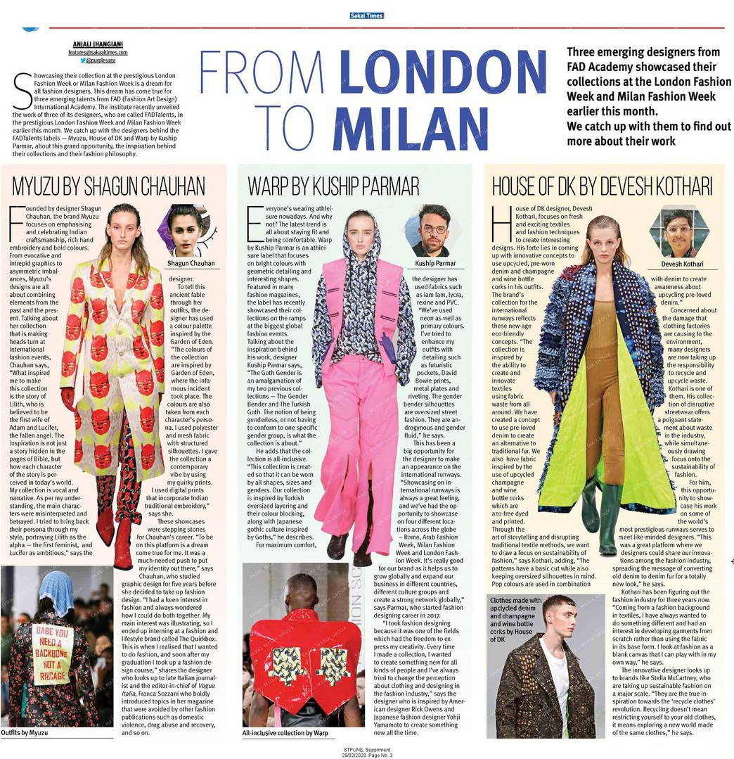 Sakal Times Article on FAD Fashion Students in Milan Fashion Week