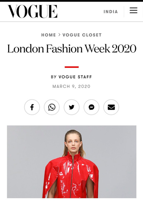 Vogue Article on FAD Fashion Design Students in London Fashion Week