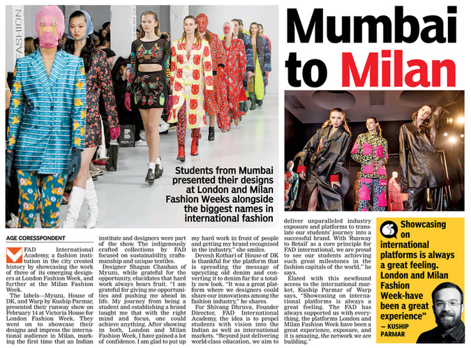 THE ASIAN AGE  article on FAD International