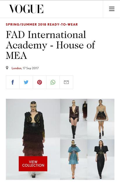 Vogue UK fashion design students FAD International
