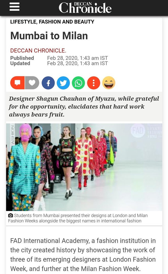 DECCAN CHRONICLE Fashion design students FAD International