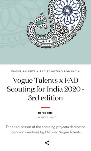 FAD Vogue Italia - Scouting for India 2020