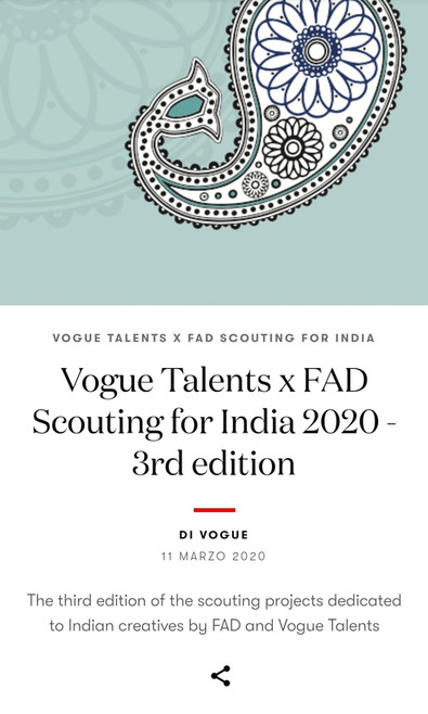 FAD Vogue Italia - Scouting for India 2020