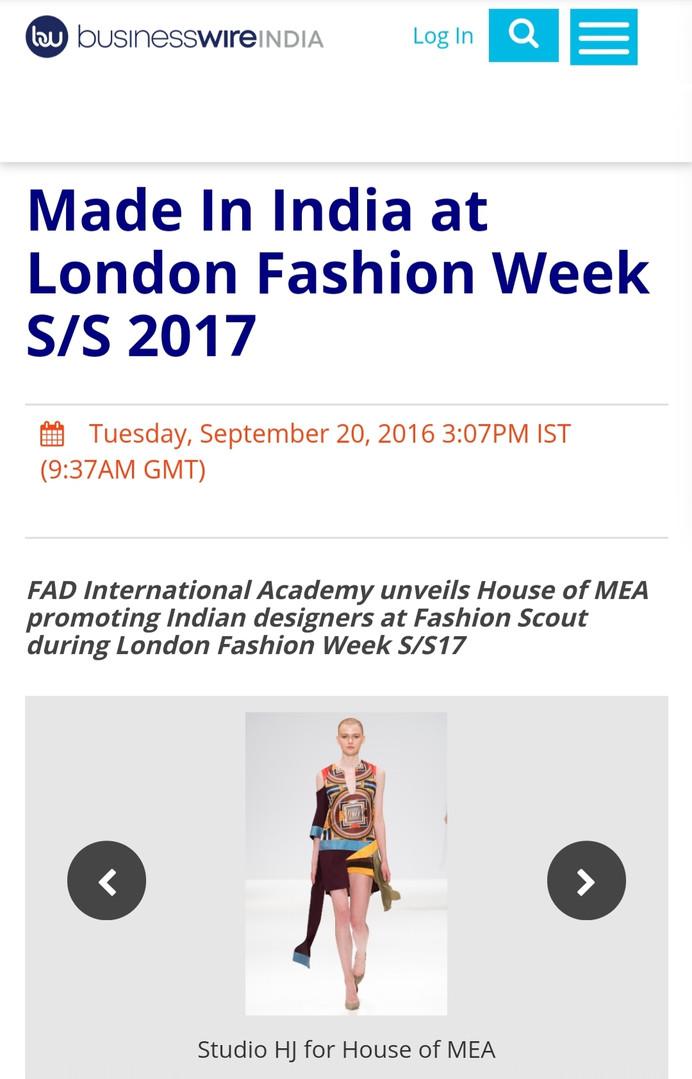 Business Wire fashion design students FAD International