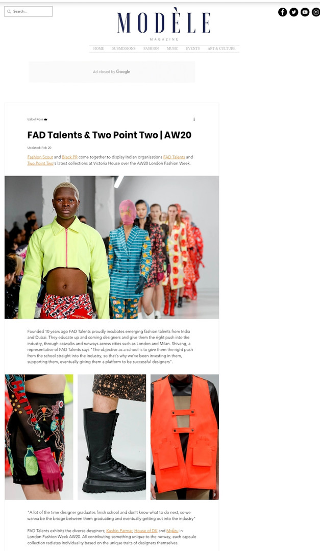 Modele Magazine fashion design students FAD International