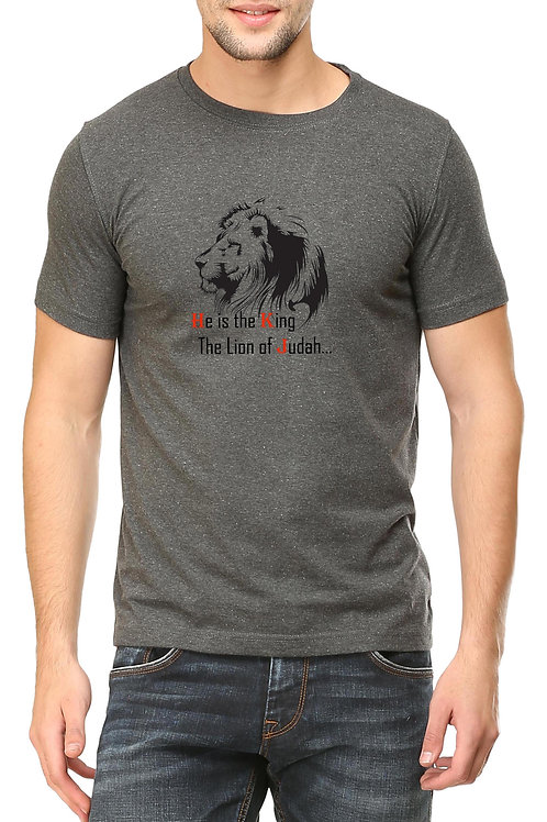 Charcoal Grey Round Neck Half Sleeve He is The King Design