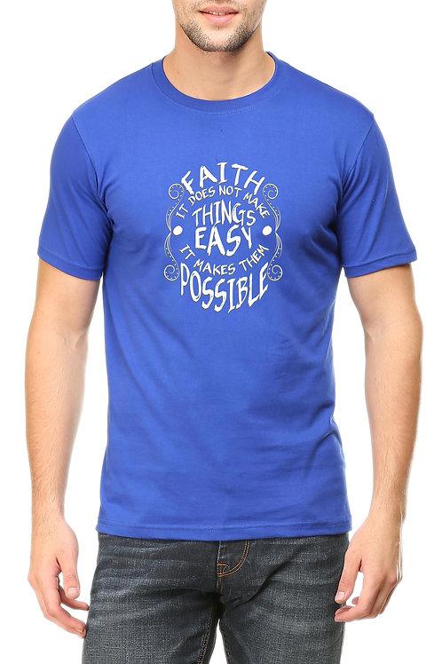 Blue Round Neck  Half Sleeve Faith Design