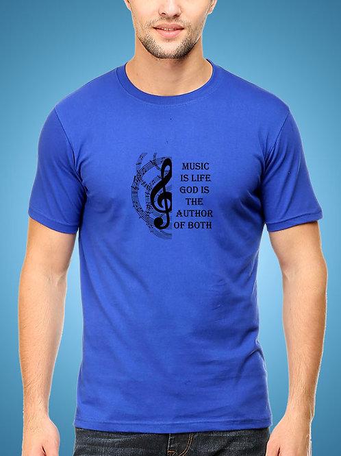 Blue Round Neck Half Sleeve  Music is Life Design
