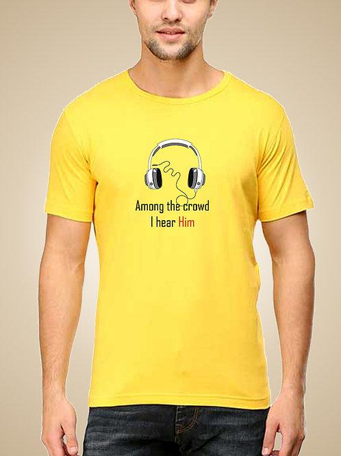 Yellow Round Neck Half Sleeve Among the Crowd design