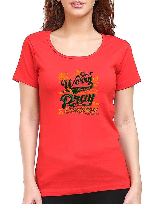 Red Round Neck Half sleeve Don't worry Design